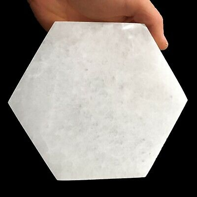 "XL Selenite ""Charging"" Plate Polished Hexagon Natural Crystal Display Plate Wand"