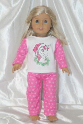 Dress Pajamas fits 18inch American Girl Doll Clothes Unicorn Christmas Outfit