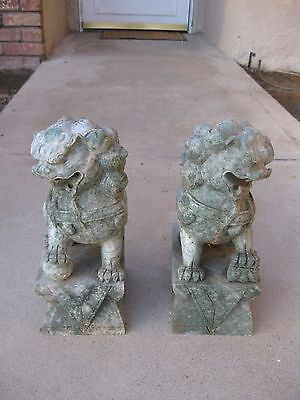 Pair Heavy Antique Carved Soap Stone/Green White Foo Dogs Late Qing/Early Repub.