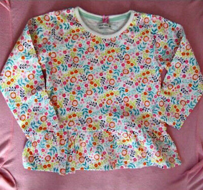 NWOT Little Girls floral print long sleeve top with frilly hem by CRAFTED 2/3yrs