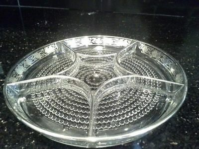Vintage Glass Divided Dish With Silver Angel Fish Overlay