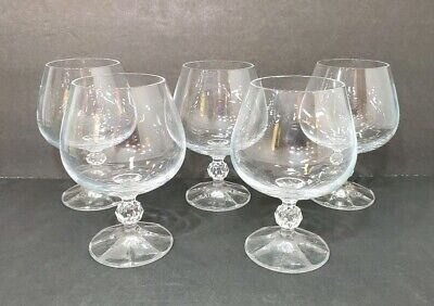 5 Crystal Brandy Snifters Bar Glasses Pedestal Cut Ball Stem 8 Panel Base Clear
