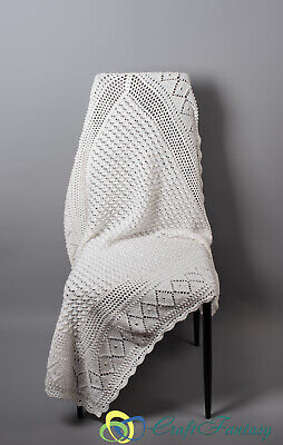 "New Hand Knitted Crochet Baby Shawl Blanket White 42"" x 48"""