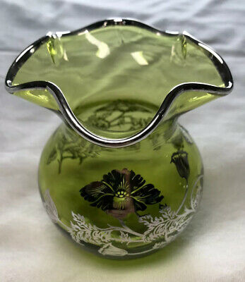 Viking Co. Sterling Silver Overlay on Green Glass Vase in Flanders Pattern