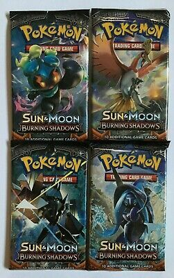 Pokemon Cards  TCG - Sun & Moon - Burning shadows - Booster Packs x4 - Authentic