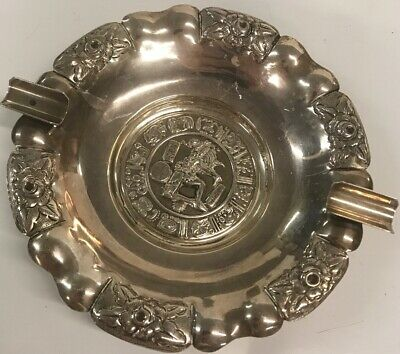 Old Sterling Silver Ashtray aztec Hecho mexico 4 ounces
