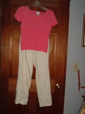 Christian Trapani White Linen Pants + Pink Top 2 pc Set Outfit Sequins Small