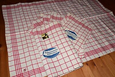 7 Old Half-Linen Kitchen Towels Wipes Red Checked Never Used Kettgarnzwirn