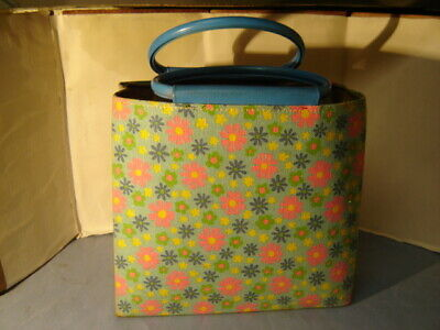 Vintage 1960s Mod Pink & Blue Hippie Daisies Bag Small Tote