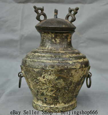 """9"""" Old Chinese Pure Bronze Dynasty Palace Beast Ring Handle Pot Jar Crock Vessel"""