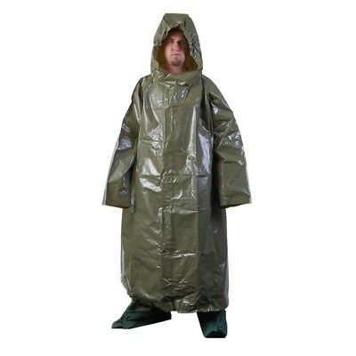 New Czech army vinyl poncho rain suit waterproof festival hiking camo raincape