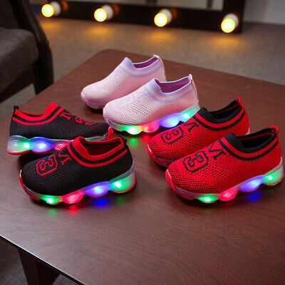 Toddler Kids Boys Girls Light Up LED Flashing Trainers Sneakers Casual Shoes