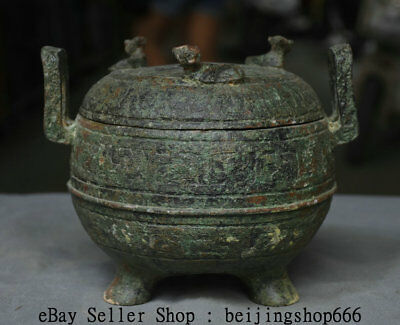 """8.2"""" Antiquity Chinese Bronze Ware Dynasty Palace Beast Handle Incense Burner"""