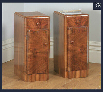 Antique English Pair Art Deco Burr Walnut Serpentine Bedside Cabinets Cupboards