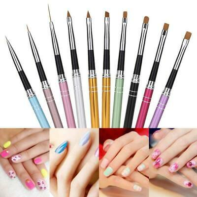 10pcs Nail Art Brush UV Gel Creative Painting Drawing Pens Manicure Tools UK