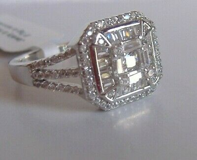 ELANZA Simulated Diamond  Art Deco Style Ring 925 Sterling Silver UK W   (129)