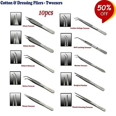 Range of Surgical Dentist Cotton and Dressing Pliers, Tweezers