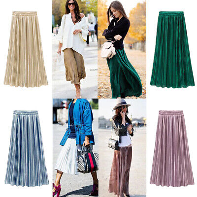 Women Elastic High Waist Maxi Dress Ladies Solid Color Casual Pleated Long Skirt