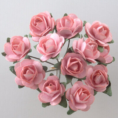 Pink Mulberry Paper Rose Small 15mm With Wire Green Bendy Stem