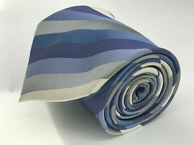 Mens Marks & Spencer Blue Grey Cream Diagonal Stripe 100% Silk Tie