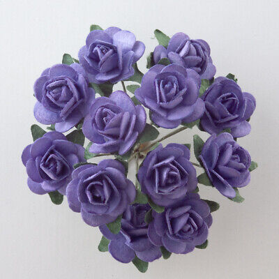 Lavander Mulberry Paper Rose Small 15mm With Wire Green Bendy Stem