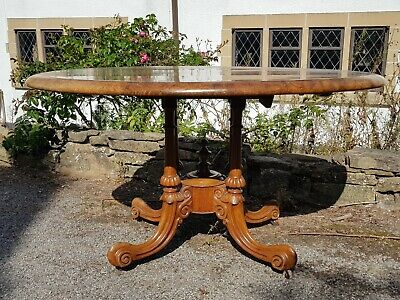 A Stunning Victorian/Early Edwardian Burr Walnut & Banded Oval Tilt Top Table