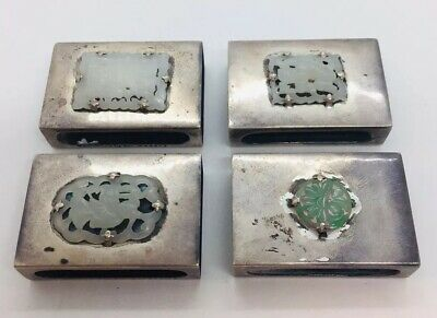 Yamanaka Japan Antique Sterling Silver Carved White Jade Set 4 Match Book Covers