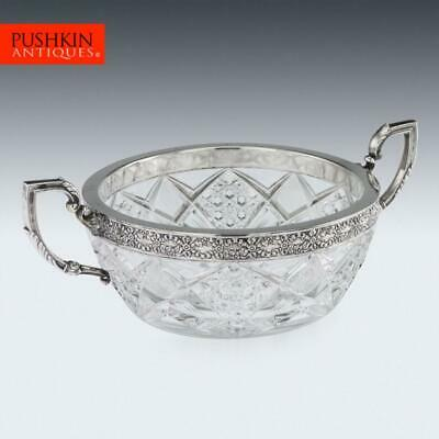 ANTIQUE 20thC RUSSIAN SILVER-MOUNTED CUT GLASS BOWL, 15 ARTEL c.1910