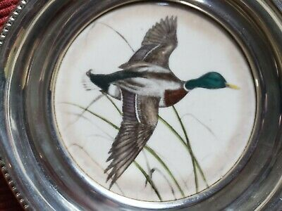 Frank M. Whiting Sterling Silver with Hand-Colored China Mallard Inset