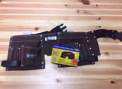 10 Pocket Leather Tool Belt Oil Tanned Work Pouch Builders Nail Bag Work Apron