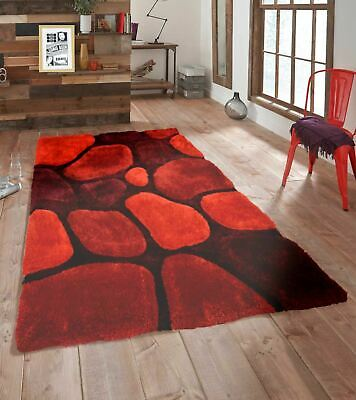 3D Pebbles Shaggy Rug Red Small Large Soft Polyester Area Carpet Mat Shag Pile
