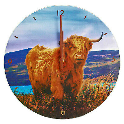 Classic Analogue Highland Cow 12-Hour Wall Quartz Clock 1x AA Battery Operated
