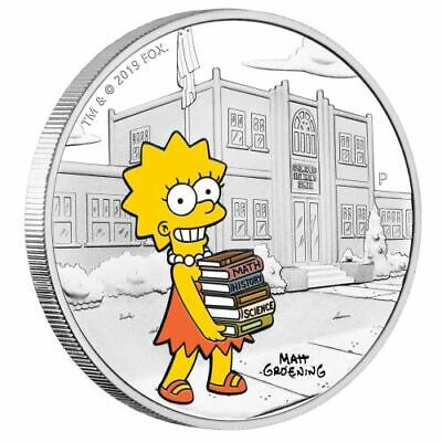 LISA SIMPSON - THE SIMPSONS - 2019 1 oz SILVER PROOF COIN - TUVALU - PERTH MINT