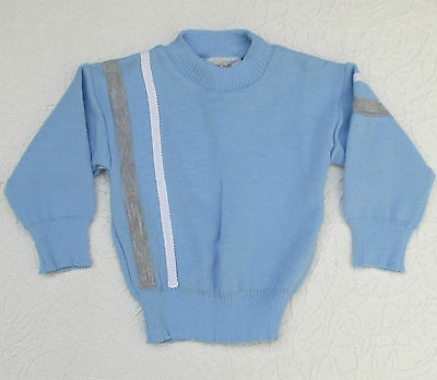 Vintage baby jumper UNUSED 18 month Chest 20 Courtelle long sleeve striped 1980s