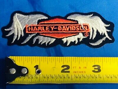GENUINE HARLEY DAVIDSON Patch Emblem ORANGE SHIELD & SILVER WINGS Logo NEW!