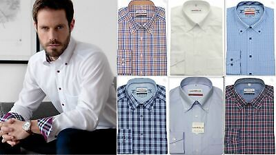 Mens Shirt Marvelis Regular Comfort Fit Non Iron Cotton Long Sleeve Button-Down
