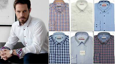 Mens Shirt Marvelis Comfort Fit Non Iron Pure Cotton Long Sleeve Button-Down