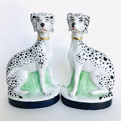 Pair Antique 19thC Germany Fine Porcelain Dalmatian Spotted Dog Figurine Statues