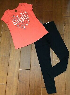 Nwt Justice Girls Size 10 Outfit Kitty Cat Short Sleeve Tee / Black Leggings