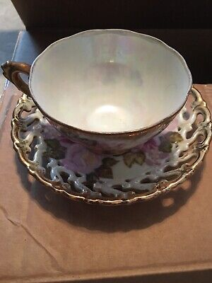 Royal Sealy China Japan Reticulated Iridescent Lusterware Cup Pierced Saucer