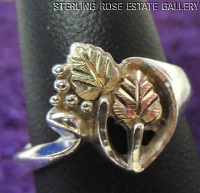 VINTAGE ROSE and YELLOW VERMEIL LEAVES & STERLING SILVER 925 ESTATE RING sz 6.25