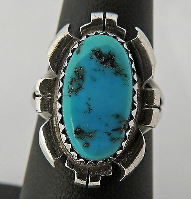 Stunning Hand Made Estate Sterling Silver Turquoise Signed Ring Size 5.75
