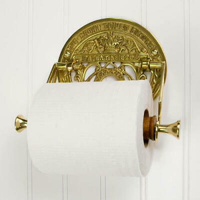 Crown Toilet Fixture Solid Brass Toilet Paper Holder Polished Lacquered Brass