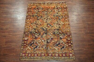 Antique 5X8 Tribal Bukhara Turkoman Hand-Knotted Abrash Wool (5.6 x 8.6)