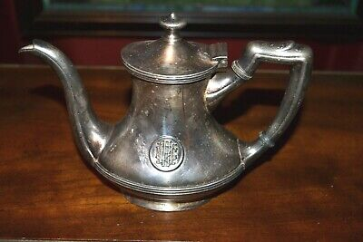 Vintage Hotel Monogrammed 1920-1930's Silver Soldered Small Teapot 10oz Creamer