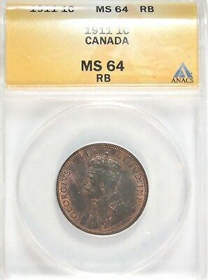 1911 King George V Large Cent ANACS MS 64 RB