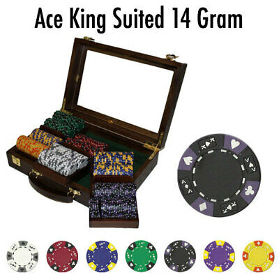 5 pc 5 colors 11.5  Ace King Queen Jack Suited Tricolor poker chip samples #87