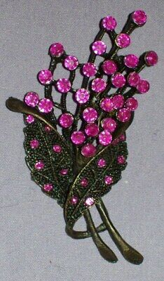 Hot Pink Magenta Rhinestone Crystal Floral Bouquet Brooch Pin - Antiqued Finish