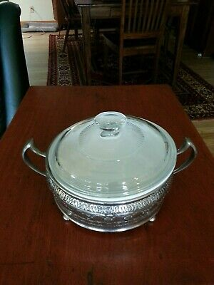 Vintage Pyrex French White Casserole in a Royal Rochester Stainless Holder