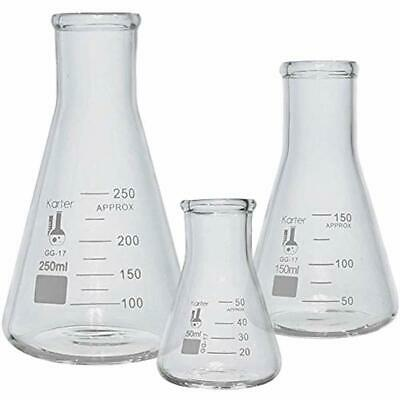Glass Erlenmeyer Flask Set - 3 Sizes 50, 150 And 250ml, 214U2 Science Industrial